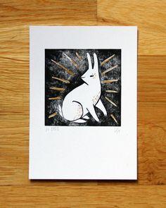 Cute little bunny. Lucky White Rabbit  hand coloured linoprint by hellojenuine, $17.00