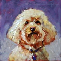 Mazie-dog painting commission, painting by artist Debbie Miller