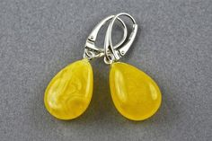 BALTIC CHERRY HONEY or GREEN AMBER /& STERLING SILVER CLIP ON HANDMADE EARRINGS
