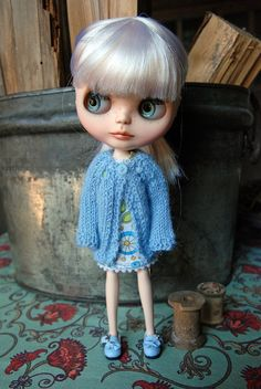 Blythe Doll Knitted Alpaca Cardigan Baby Blue by AuntieShrews