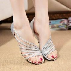 Weiya Strappy Low Wedge Sandals gold 39