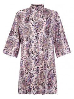 Blue Inc Woman Womens Pink Paisley Print Collared Winged Shirt Dress