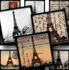63 different vintage French images make up this collage sheet. Many are souvenir postcards and photographs of the Eiffel Tower circa 1889, but it also includes some hot air balloons, French menu text, tickets, posters, and other ephemera. By piddix.