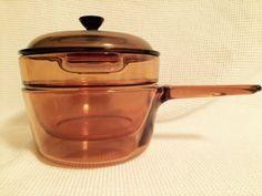 Pyrex Corning Visions Cookware Amber Double Boiler 1.5L EUC #Pyrex