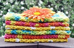 NOT YOUR GRANDMA'S WASHCLOTHS!           That's right, this washcloth pattern can be full of color and texture.    Here's a sample for you ...