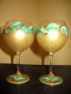 Christmas Hand Painted Wine glasses by WhitsWineGlasses on Etsy, $45.00