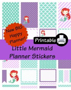 New BIG Happy Planner Little Mermaid PDF PRINTABLE Planner Stickers Erin Condren Planner Filofax Plum Paper Decorating Kit by WhimsicalWende on Etsy