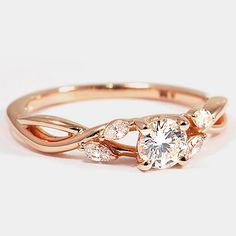 14K Rose Gold Willow Diamond Ring // Set with a 0.40 Carat, Round, Ideal Cut, H Color, VS2 Clarity Lab Diamond #BrilliantEarth