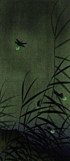 "themagicfarawayttree: "" 'Fireflies' (c.1930) by Japanese artist & printmaker Ohara Koson (1877-1945) """