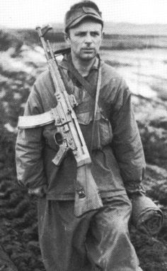 Battle of Berlin, April 1945. German soldier carrying the StG 44 assault rifle. The first assault rifle in history, the StG 44 served as the prototype upon which the famous Russian AK-47 was based. Reserved for Waffen SS units when it first appeared in 1944, the StG 44 was far superior to anything the Allies had at the time.