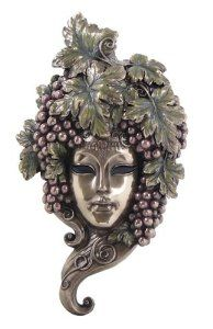 Grapes on Elaborate Bronzehued Mask Wall Plaque Decor Gift - This beautiful wall plaque adds a touch of fantasy, magic, and mystery to any home décor.  $59.95