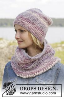 """Knitted DROPS hat and neck warmer in garter st with dropped sts in """"Brushed Alpaca Silk"""" and """"Big Delight"""". ~ DROPS Design"""