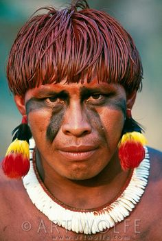 amazing faces | brazil | uper xingu | kuikuro man | by art wolfe