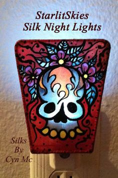 Day of the Dead, Night Light 'Sugar Skul'l Hand painted Silk By Cyn by StarlitSkies, $18.00. I call this style 'The Wrestler', LOL!