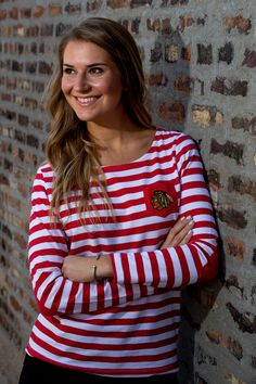 Jackie is wearing the Ladies University Girls Striped Long Sleeve ($55). Shop this look today at the #BlackhawksStore! Blackhawks Store, University Girl, Brand New, Seasons, Lady, Long Sleeve, Girls, How To Wear, Shopping