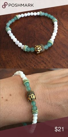 """Mother of Pearl Buddha Bracelet Perfect for layering. This 7"""" stretch Mother of Pearl  Buddha bracelet is perfect with jeans or your favorite yoga outfit! Designs by Jodior Jewelry Bracelets"""