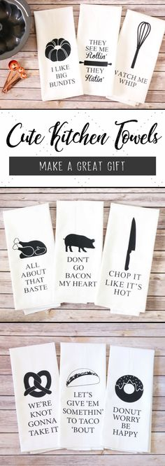 Farmhouse Kitchen Towels | Perfect for any #farmhouse loving person! Cute, funny sayings are sure to brighten up any #kitchen :) #kitchenideas #giftideas #mothersdaygifts #fixerupper #afflink