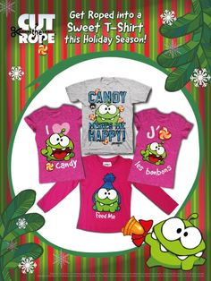 Sweeten the Holiday Season with Cut the Rope® t-shirts at Walmart Canada!