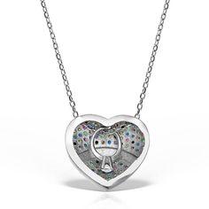 Colier argint cu pietre 42 cm colorate - Inima - MCN0022 Diamond, Jewelry, Jewlery, Jewerly, Schmuck, Diamonds, Jewels, Jewelery, Fine Jewelry