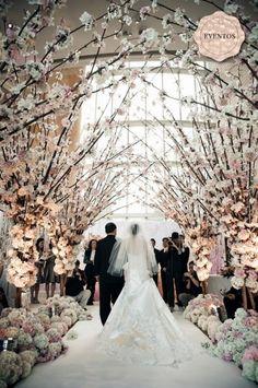 dramatic blush + white.   Beautiful arch of dogwood