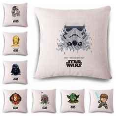 Cartoon Star Wars Cushion Covers Capas De Almofadas American Style Soft Cute Pattern Pillow Covers Room Decorative Pouf e1269