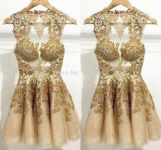 Fashionable 2015 Cocktail Dresses Gold Applique A Line Homecoming Dresses Crew Neck Sleeveless Zip Back Mini dresses F298