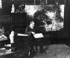 OSWALD ACHENBACH NEL SUO STUDIO / C.1875Achenbach Oswald pittore.  , ibid 1905/02/01 - 1827/02/01 Dusseldorf. . Achenbach nel suo studio fotografia al 1875