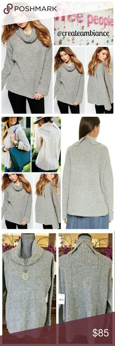 "Free People Sidewinder Pullover Sweater Free People Sidewinder Pullover Sweater in grey. This cozy, oversized mid weight pullover features raised seams down the front and back, split back neck, dropped shoulders, cuffed long sleeves with a chunky neckline!   Fabric: 100% Wool, Armpit to Armpit: 26""(52"" all around), Arm Inseam: 20.5"", Front Length: 25"", Back Length: 28"". Measurements are approximate!   No trade, discount with bundle! Considering all reasonable offers made via the blue offer…"