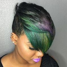 Short Black Undercut For Women With Balayage                                                                                                                                                                                 More