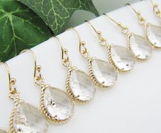 SET of 9 Wedding Bridesmaid Jewelry Bridal Earrings Bridesmaid Earrings Clear Glass Gold