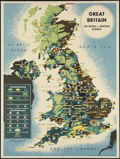 """The Map of GREAT BRITAIN and """"Her Natural & Industrial Resources"""" is distributed by the British Information Services, an agency of the British Government"""
