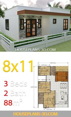 House Design with 3 Bedrooms Full Plans - House Plans House Design with 3 Bedrooms Full PlansThe House has:-Car Parking and garden-Living room,-Dining Bedrooms, 2 bathroom House Layout Plans, Bedroom House Plans, Dream House Plans, Small House Plans, House Layouts, House Floor Plans, Dream Houses, Simple House Design, House Front Design