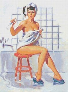 Retro Kitsch Pin-Up w. Flooded Bathroom Handmade Cross-Stitch Pattern