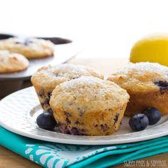 Skinny Blueberry & Buttermilk Muffins | sweetpeasandsaffron.com