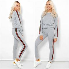 Womens Side Stripe Lounge Tracksuit Joggers Top Bottoms 2 PC Set UK 8 10 12 14  #LOVE