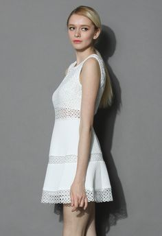 Eyelet Crochet Paneled Dress in White - New Arrivals - Retro, Indie and Unique Fashion