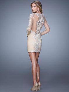 Sheath/Column Long Sleeves Scoop Short/Mini Lace Dresses - Tight Homecoming Dresses - Homecoming Dresses | FavDress