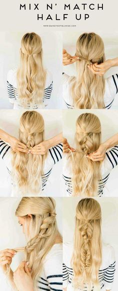 Quick And Easy Hairstyles For School : Amazing Half Up-Half Down Hairstyles For Long Hair  Mix N Match Half Up  Ea