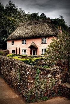 . Little Cottages, Cabins And Cottages, Country Cottages, Cottage Living, Cottage Homes, Cottage Gardens, Pink Houses, Old Houses, Rose Cottage