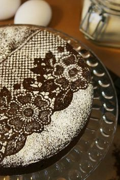 Such a good idea!  Use lace and sprinkle powdered sugar over it to decorate a cake.