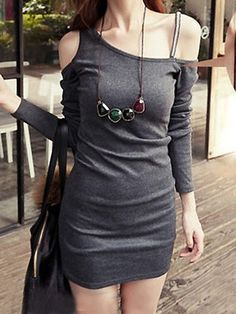 Korean Long Sleeve Off Shoulder Slim Dress Gray