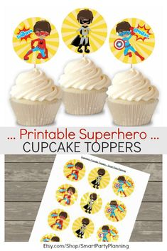 Printable superhero cupcake toppers available in 3 designs. Perfect for creating some fun decor at birthday parties. Kids will love the fun superhero characters. They can also be used on other food items or as party tags. Click through for an instant PDF download. #Superhero #Cupcaketoppers #Decor#Instantdownload #ad Superhero Theme Party, Party Themes For Boys, Superhero School, Parties Kids, Birthday Parties, Party Favor Tags, Party Favors, Superhero Cupcake Toppers, Superhero Characters