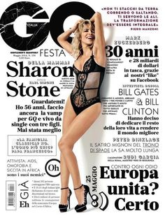 We'll have what she's having!  56-year-old Sharon Stone appears radiant and ageless -- not to mention ridiculously sexy -- on the cover of GQ Italia, wearing a black, mesh bodysuit and a killer pair of black stilettos for the magazine's May issue.