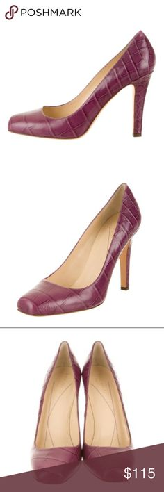 26d7edf09d7d Kate Spade New York Square-Toe Pumps Purple Pink Embossed Leather Kate Spade  New