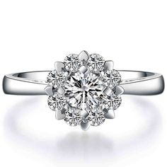 EDI Romantic Alice 9k White Gold 0.5Ct Round Brilliant Moissanites Lab Grown Diamond Wedding Ring For Women Jewelry Gifts-in Rings from Jewelry & Accessories on Aliexpress.com | Alibaba Group