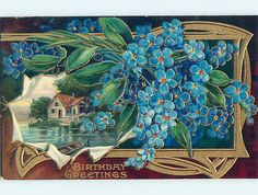 Pre-Linen art nouveau FORGET-ME-NOT FLOWERS WITH WATER SCENE HJ3444