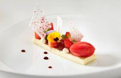 Tahitian vanilla custard, English strawberry spheres, sorbet, mint panna cotta and vanilla meringue | Michael Wignall