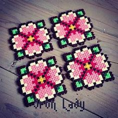 Flower coasters mini perler beads by iron_lady_perler ...