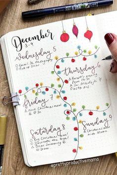 Bullet Journal Christmas, December Bullet Journal, Bullet Journal Notebook, Bullet Journal School, Bullet Journal Spread, Bullet Journal Inspo, Bullet Journal Layout, Bullet Journals, Bullet Journal Lettering Ideas