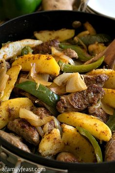 This Easy Italian Sausage and Potato Skillet cooks up in just 30 minutes. A delicious dinner or breakfast!